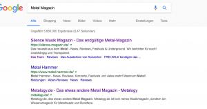 Metalogy.de auf Platz 3 im Googleranking