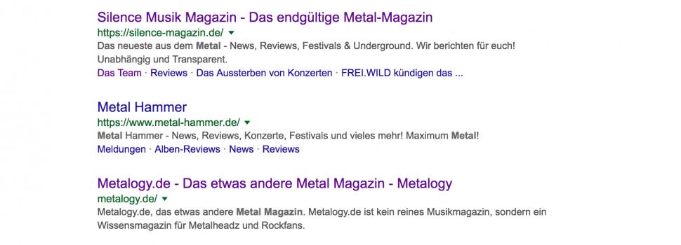 Metalogy.de auf Platz 3 im Google Ranking  – Suchen Werbekunden, Sponsoren und Kooperationspartner